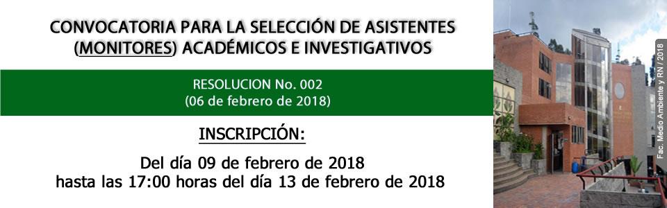 Convocatoria Monitores 2018-I