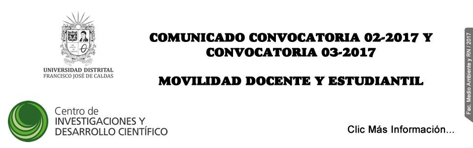 COMUNICADO CONVOCATORIA 02-2017 Y CONVOCATORIA 03-2017.